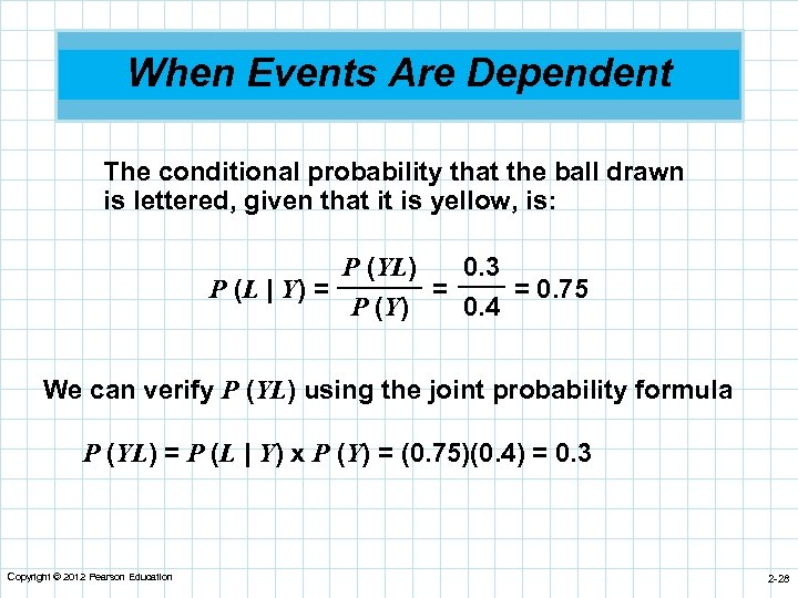 When Events Are Dependent The conditional probability that the ball drawn is lettered, given