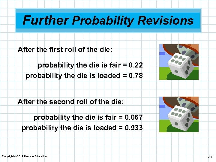 Further Probability Revisions After the first roll of the die: probability the die is