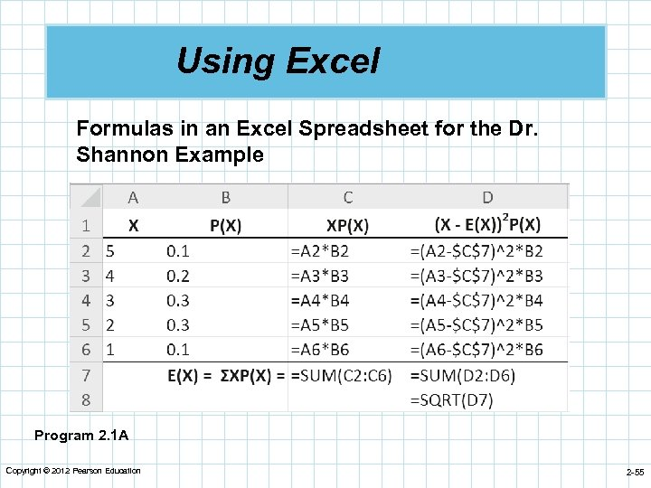 Using Excel Formulas in an Excel Spreadsheet for the Dr. Shannon Example Program 2.