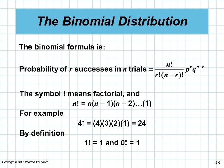 The Binomial Distribution The binomial formula is: The symbol ! means factorial, and n!