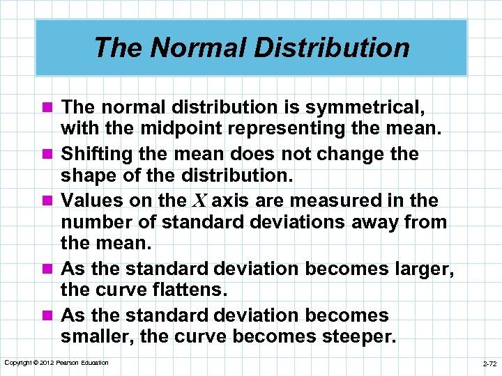 The Normal Distribution n The normal distribution is symmetrical, n n with the midpoint