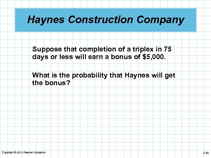 Haynes Construction Company Suppose that completion of a triplex in 75 days or less