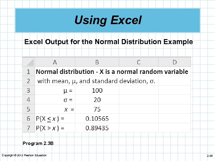Using Excel Output for the Normal Distribution Example Program 2. 3 B Copyright ©