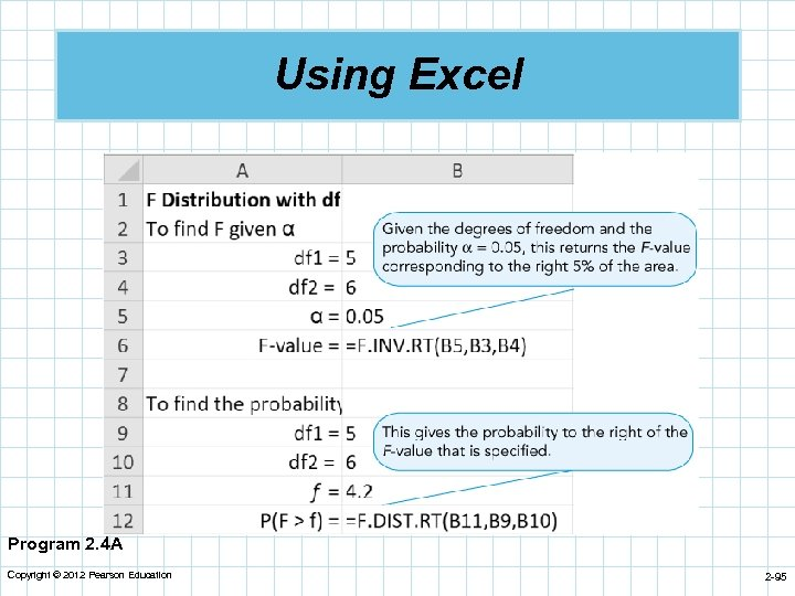 Using Excel Program 2. 4 A Copyright © 2012 Pearson Education 2 -95