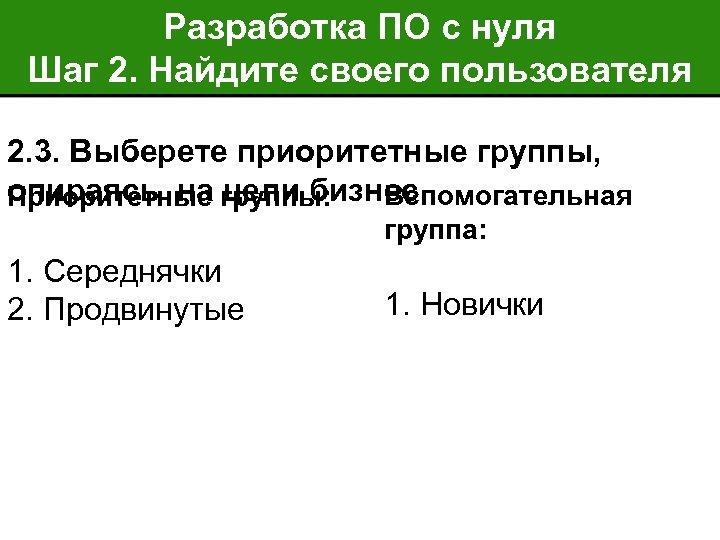 Разработка ПО с нуля Шаг 2. Найдите своего пользователя 2. 3. Выберете приоритетные группы,