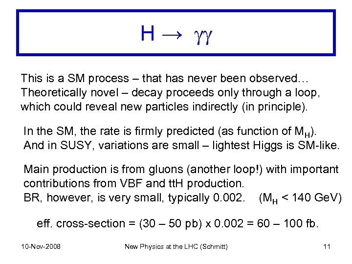 H → gg This is a SM process – that has never been observed…