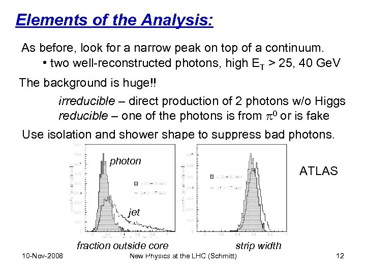 Elements of the Analysis: As before, look for a narrow peak on top of
