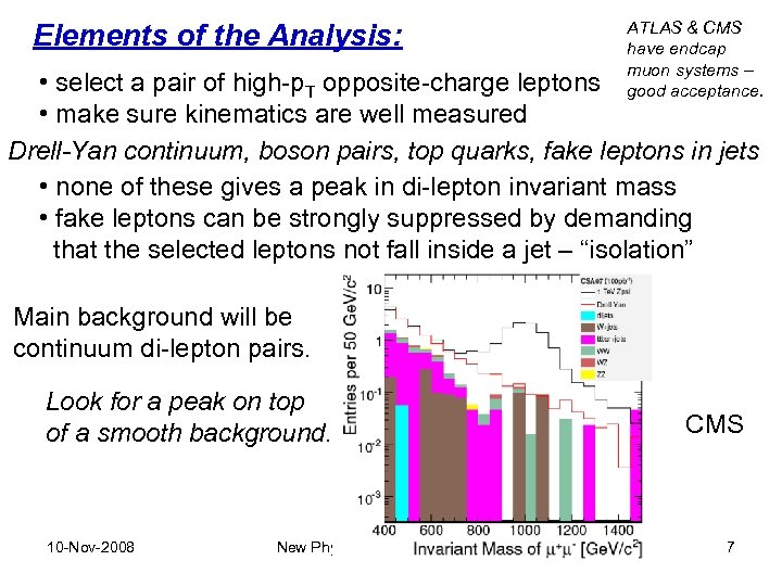 Elements of the Analysis: ATLAS & CMS have endcap muon systems – good acceptance.