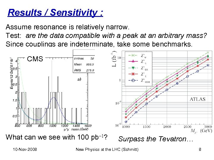 Results / Sensitivity : Assume resonance is relatively narrow. Test: are the data compatible