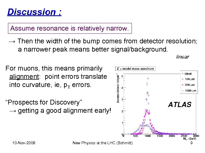 Discussion : Assume resonance is relatively narrow. → Then the width of the bump