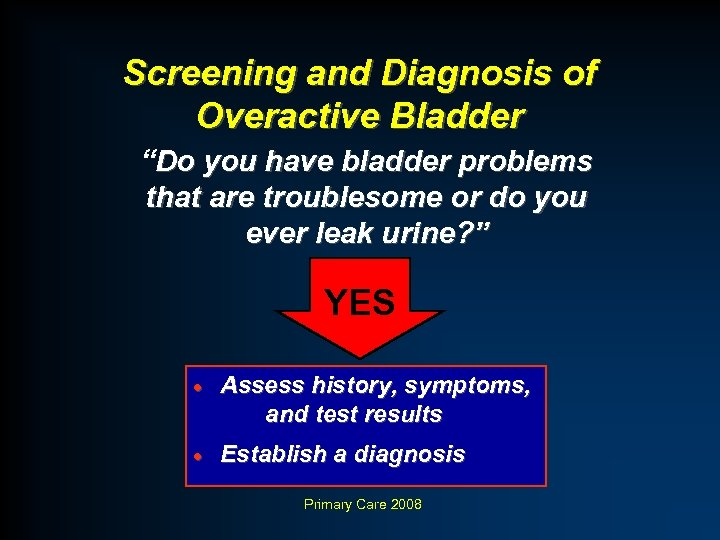 "Screening and Diagnosis of Overactive Bladder ""Do you have bladder problems that are troublesome"