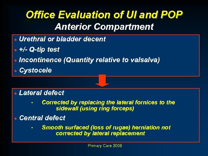 Office Evaluation of UI and POP Anterior Compartment · Urethral or bladder decent ·