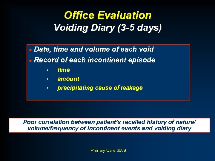 Office Evaluation Voiding Diary (3 -5 days) · Date, time and volume of each