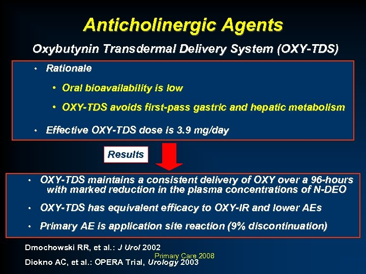Anticholinergic Agents Oxybutynin Transdermal Delivery System (OXY-TDS) • Rationale • Oral bioavailability is low
