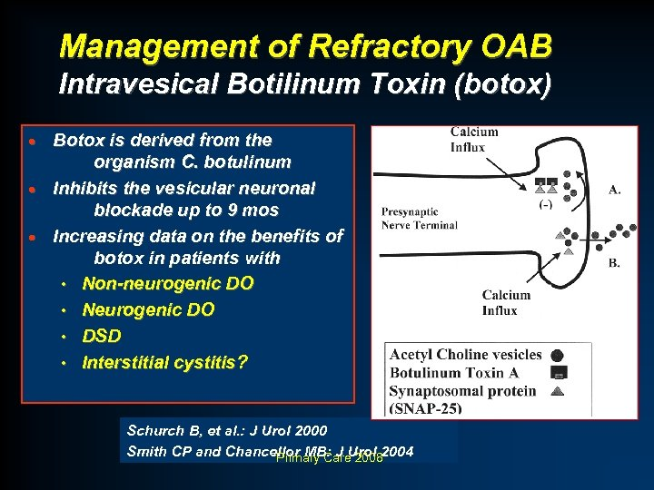 Management of Refractory OAB Intravesical Botilinum Toxin (botox) Botox is derived from the organism