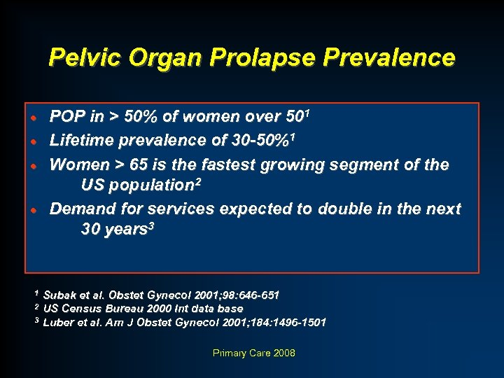 Pelvic Organ Prolapse Prevalence POP in > 50% of women over 501 · Lifetime