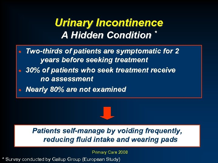 Urinary Incontinence A Hidden Condition * Two-thirds of patients are symptomatic for 2 years