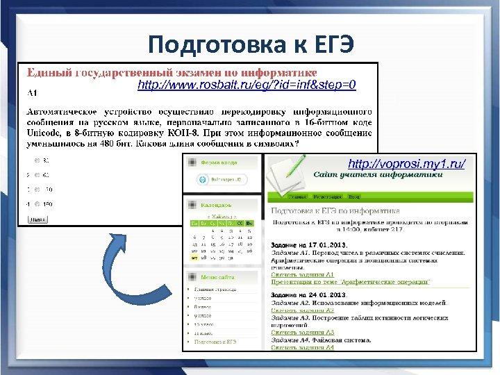 Подготовка к ЕГЭ http: //www. rosbalt. ru/eg/? id=inf&step=0 http: //voprosi. my 1. ru/