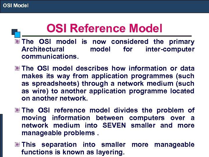 OSI Model OSI MODEL OSI Model Layer