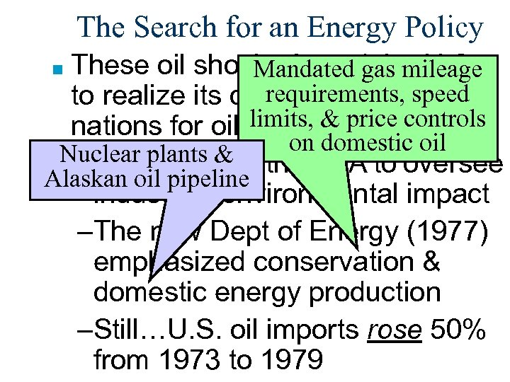 The Search for an Energy Policy These oil shocks forced the U. S. Mandated