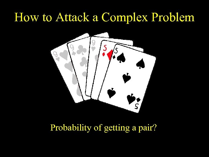 How to Attack a Complex Problem Probability of getting a pair?