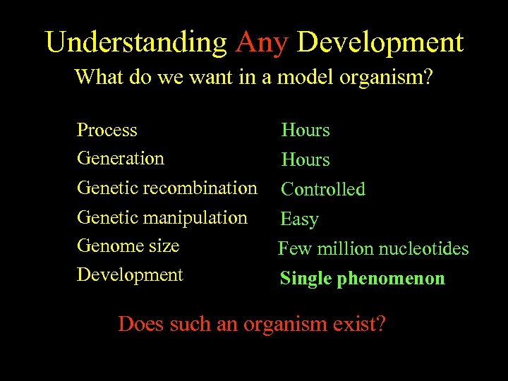 Understanding Any Development What do we want in a model organism? Process ~8 days
