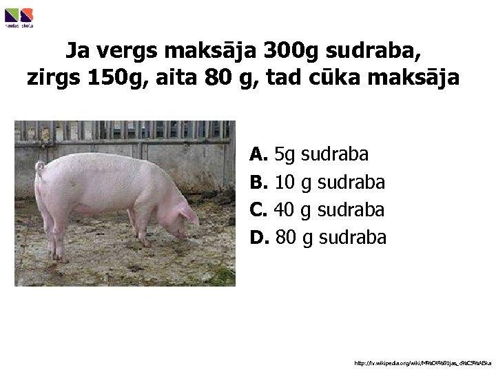 Ja vergs maksāja 300 g sudraba, zirgs 150 g, aita 80 g, tad cūka
