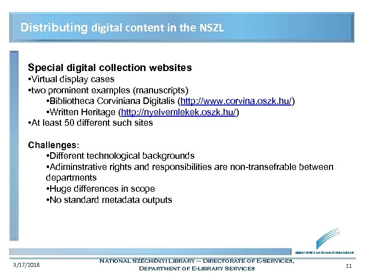 Distributing digital content in the NSZL Special digital collection websites • Virtual display cases
