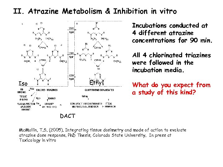 II. Atrazine Metabolism & Inhibition in vitro Incubations conducted at 4 different atrazine concentrations