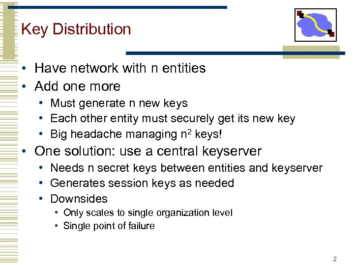 Key Distribution • Have network with n entities • Add one more • Must