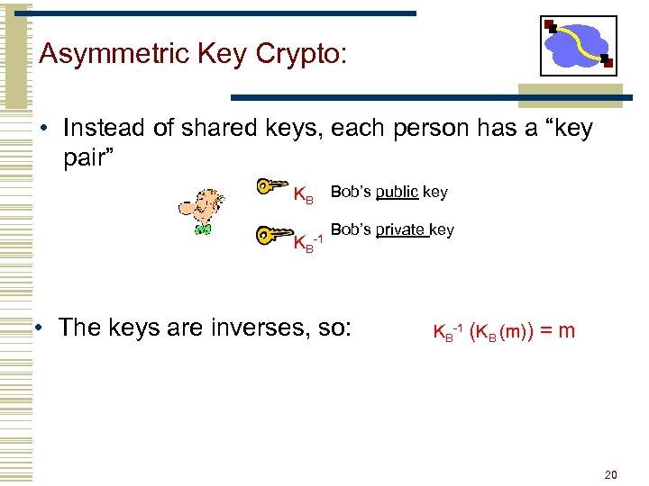 "Asymmetric Key Crypto: • Instead of shared keys, each person has a ""key pair"""