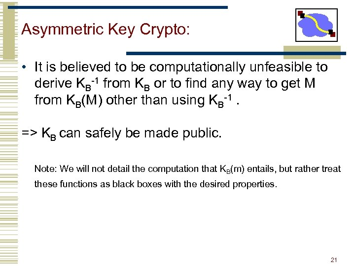 Asymmetric Key Crypto: • It is believed to be computationally unfeasible to derive KB-1