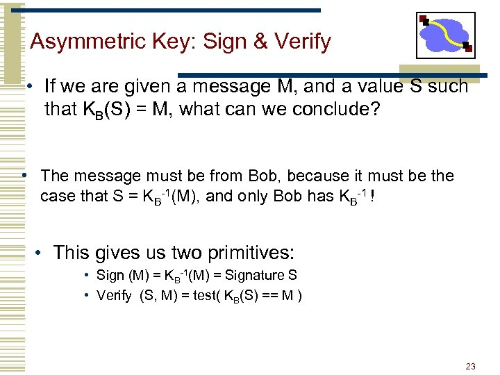 Asymmetric Key: Sign & Verify • If we are given a message M, and