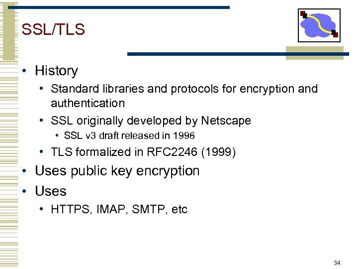 SSL/TLS • History • Standard libraries and protocols for encryption and authentication • SSL