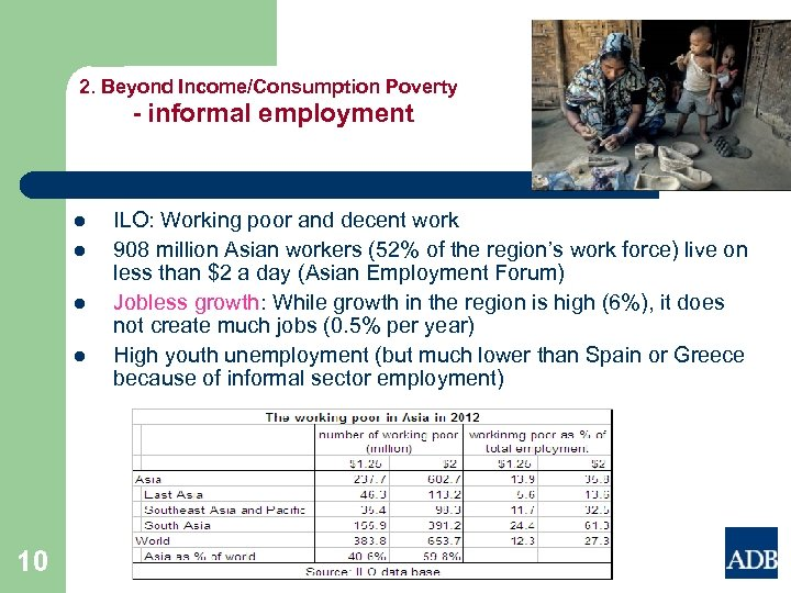 2. Beyond Income/Consumption Poverty - informal employment l l 10 ILO: Working poor and