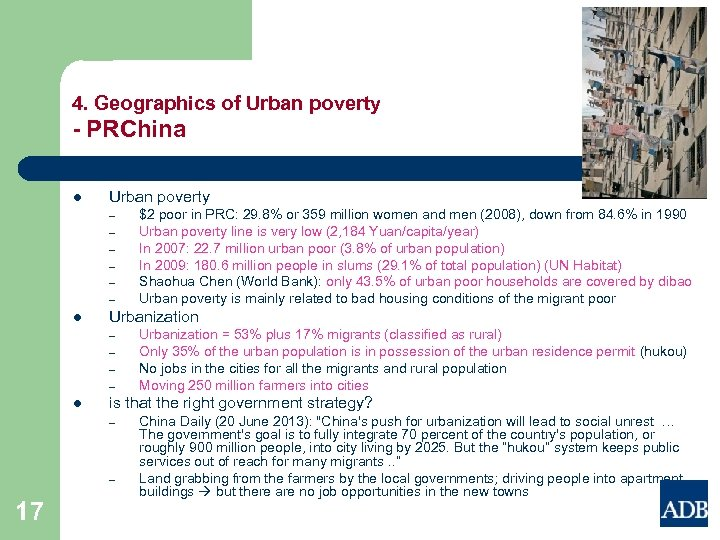 4. Geographics of Urban poverty - PRChina l Urban poverty – – – l