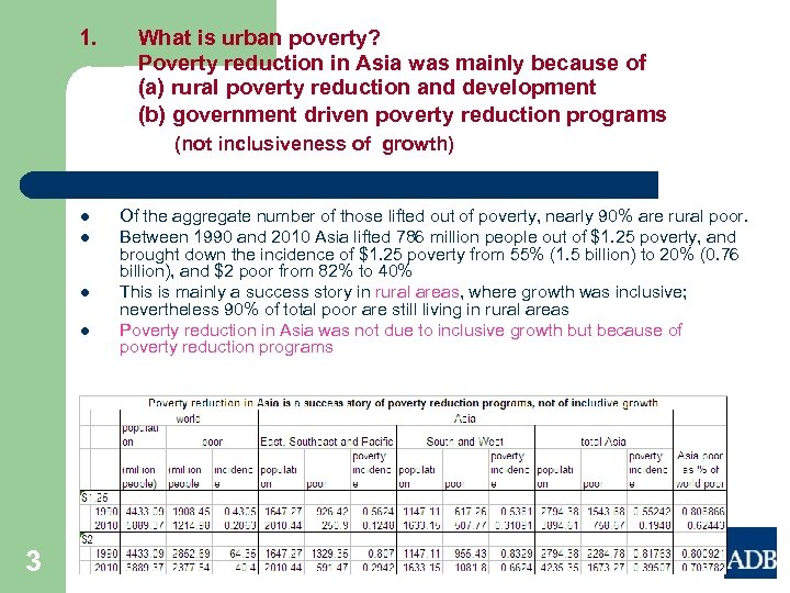 1. What is urban poverty? Poverty reduction in Asia was mainly because of (a)