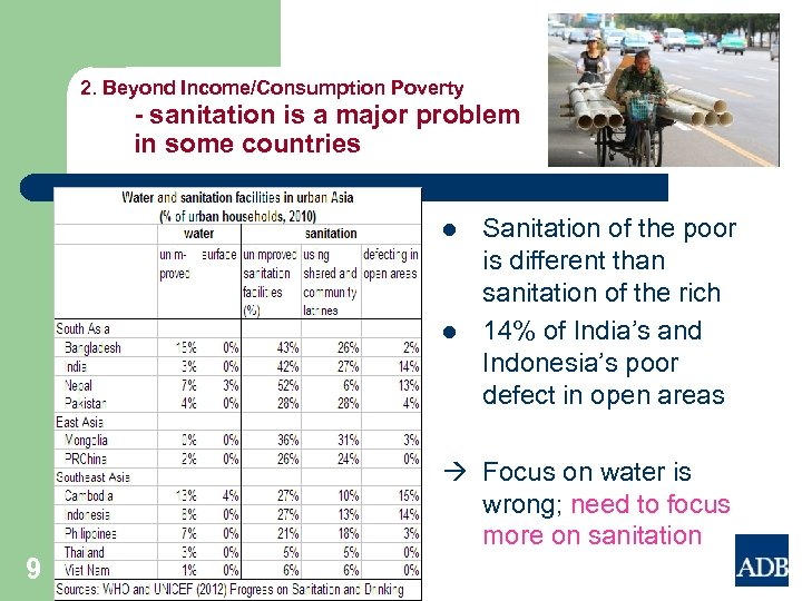 2. Beyond Income/Consumption Poverty - sanitation is a major problem in some countries l