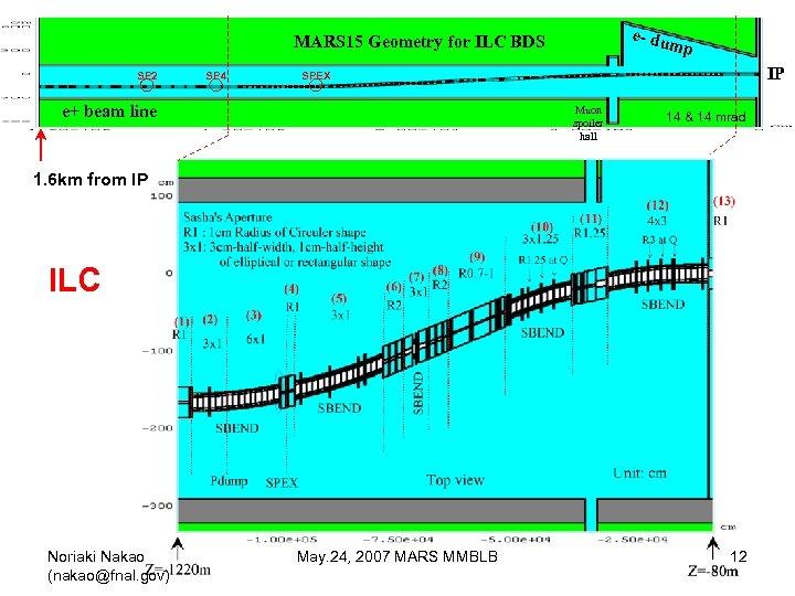 e- du MARS 15 Geometry for ILC BDS SP 2 SP 4 mp IP