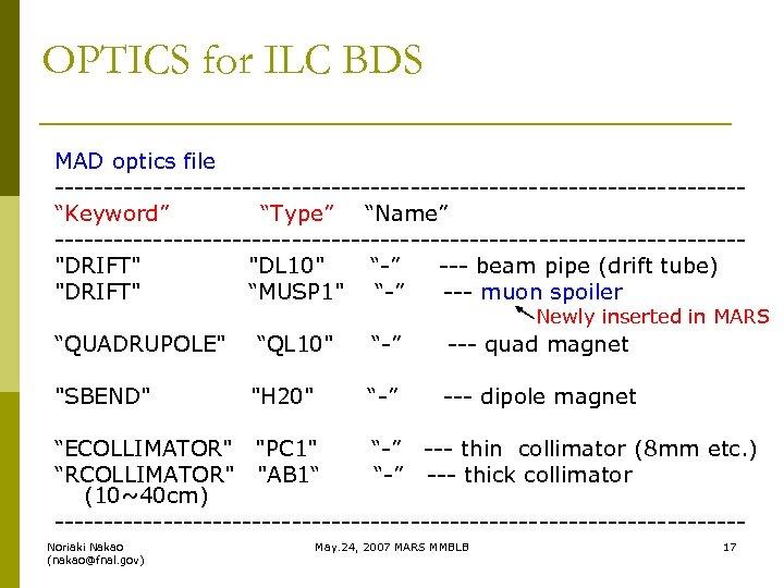 "OPTICS for ILC BDS MAD optics file -----------------------------------""Keyword"" ""Type"" ""Name"" -----------------------------------"