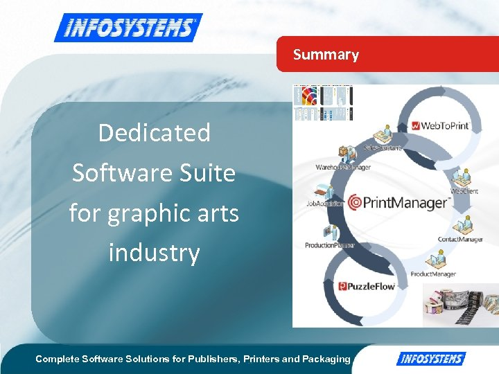 Summary Dedicated Software Suite for graphic arts industry Complete Software Solutions for Publishers, Printers