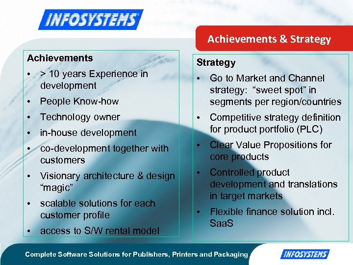 Achievements & Strategy Achievements Strategy • > 10 years Experience in development • Go