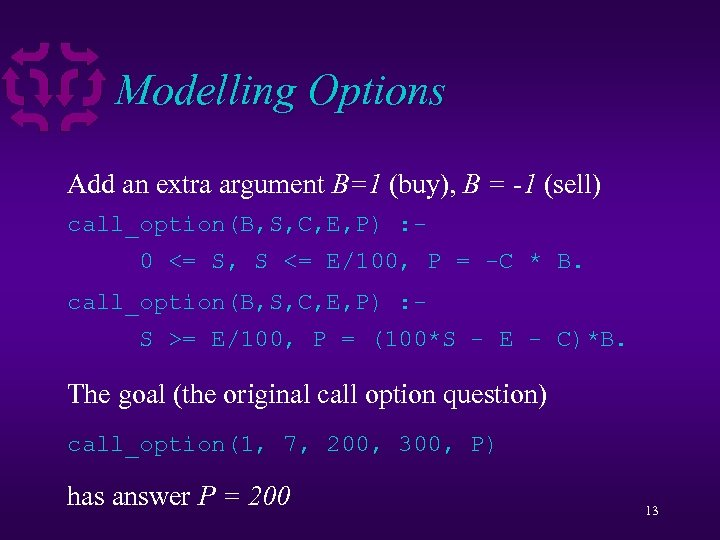 Modelling Options Add an extra argument B=1 (buy), B = -1 (sell) call_option(B, S,