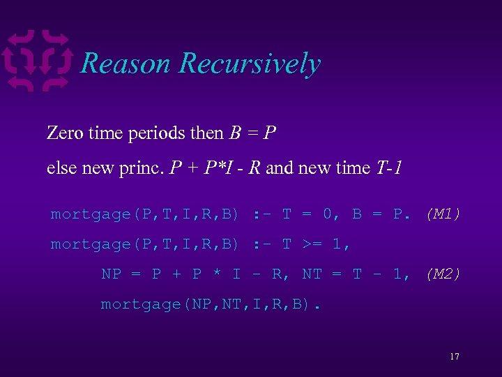 Reason Recursively Zero time periods then B = P else new princ. P +