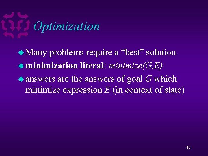 """Optimization u Many problems require a """"best"""" solution u minimization literal: minimize(G, E) u"""