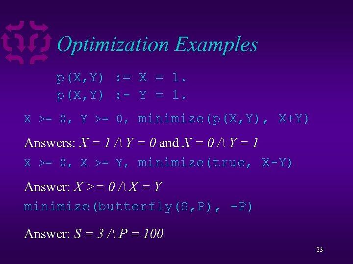 Optimization Examples p(X, Y) : = X = 1. p(X, Y) : - Y