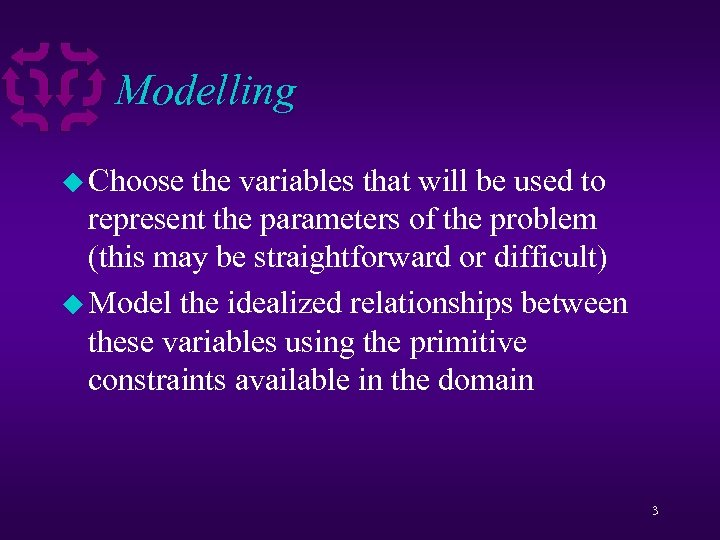 Modelling u Choose the variables that will be used to represent the parameters of