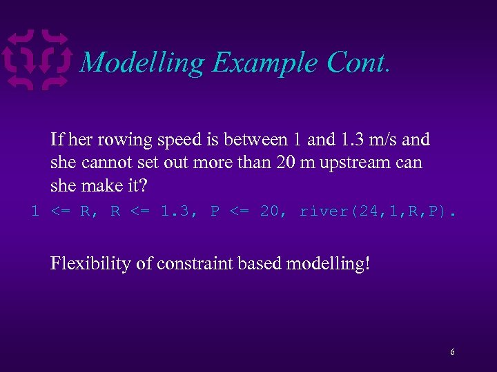 Modelling Example Cont. If her rowing speed is between 1 and 1. 3 m/s