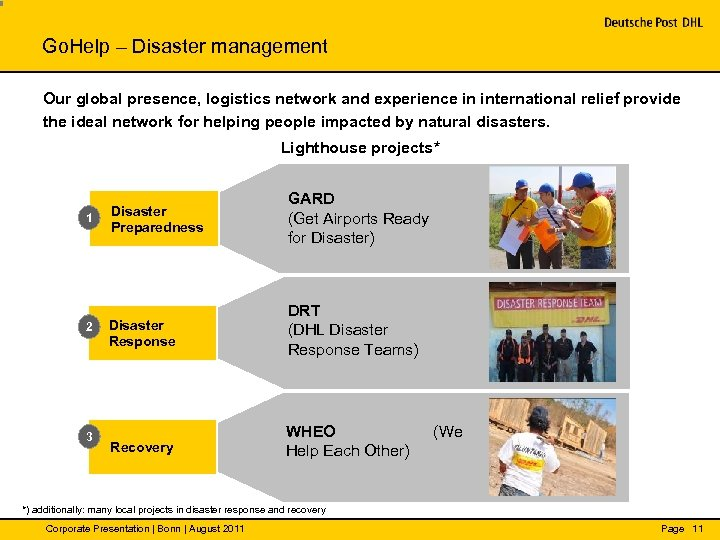 Go. Help – Disaster management Our global presence, logistics network and experience in international