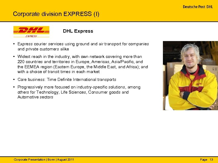 Corporate division EXPRESS (I) DHL Express • Express courier services using ground air transport